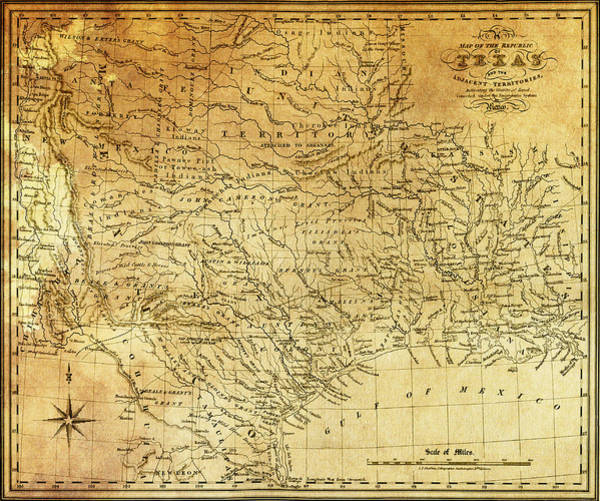 Petroleum Wall Art - Digital Art - 1841 Republic Of Texas Map by Daniel Hagerman