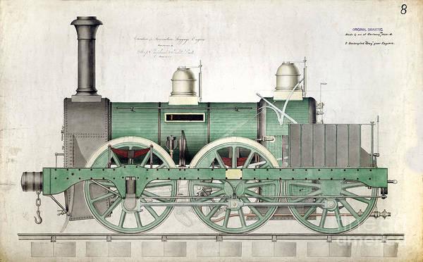 Locomotive Drawing - 1843 Locomotive Luggage Engine by Jon Neidert