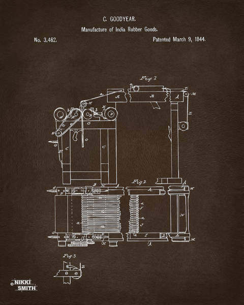 Digital Art - 1844 Charles Goodyear India Rubber Goods Patent Espresso by Nikki Marie Smith