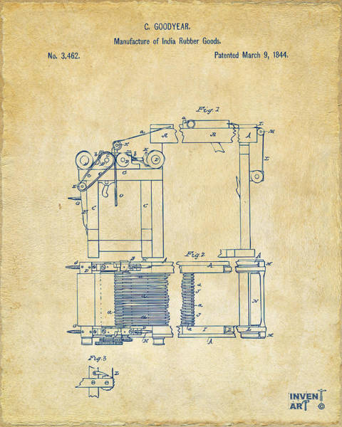 Digital Art - 1844 Charles Goodyear India Rubber Goods Patent Vintage by Nikki Marie Smith
