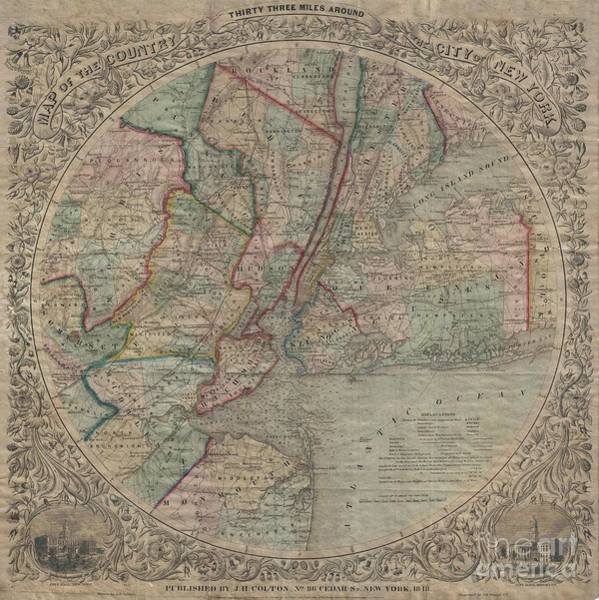 Somerset County Photograph - 1848 Colton Map Of New York City And Vicinity by Paul Fearn