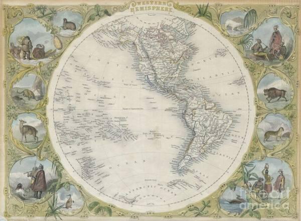 1850 Tallis Map Of The Western Hemisphere Art Print