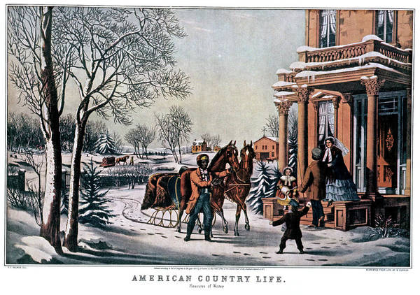 Currier And Ives Painting - 1850s American Country Life - Pleasures by Vintage Images