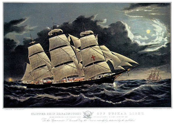 Currier And Ives Painting - 1850s Clipper Ship Dreadnought - by Vintage Images