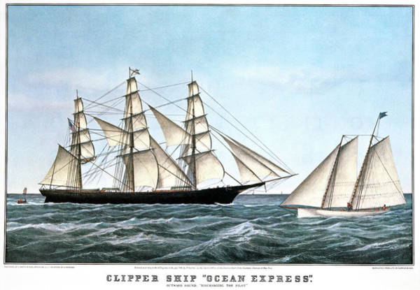 Currier And Ives Painting - 1850s Clipper Ship Ocean Express - by Vintage Images