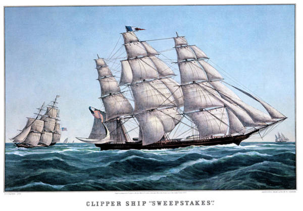 Currier And Ives Painting - 1850s Clipper Ship Sweepstakes - by Vintage Images
