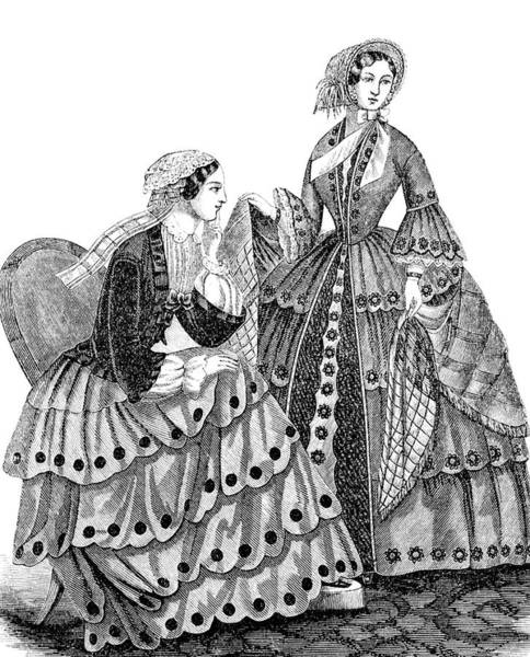Harper Painting - 1850s Engraving Of Womens Fashions by Vintage Images