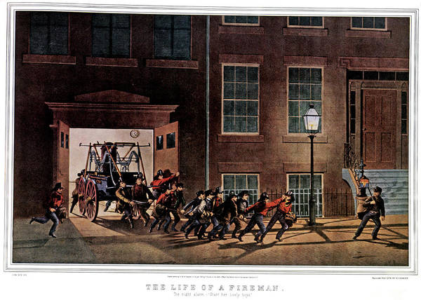 Currier And Ives Painting - 1850s Life Of A Fireman The Night Alarm by Vintage Images
