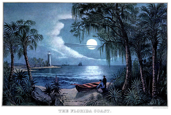 Currier And Ives Painting - 1850s The Florida Coast - Currier & by Vintage Images