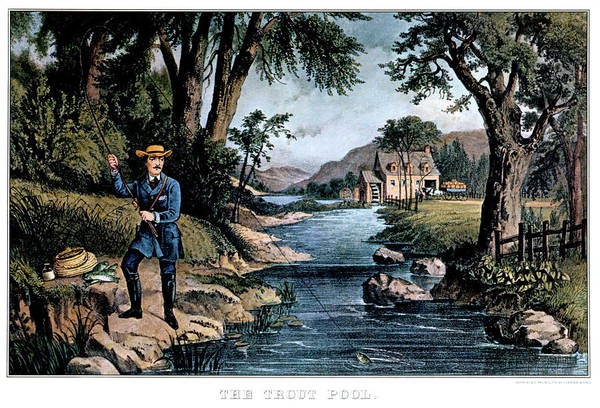 Angling Art Wall Art - Painting - 1850s The Trout Pool Fishing - Currier by Vintage Images