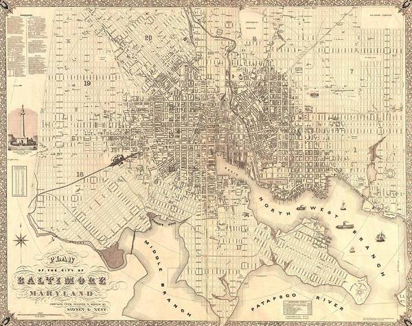 Maryland Mixed Media - 1851 Baltimore Maryland Map by Dan Sproul