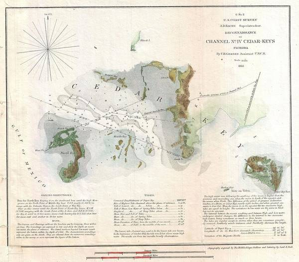 Port Of Tampa Wall Art - Photograph - 1852 Us Coast Survey Map Of Cedar Key Florida by Paul Fearn