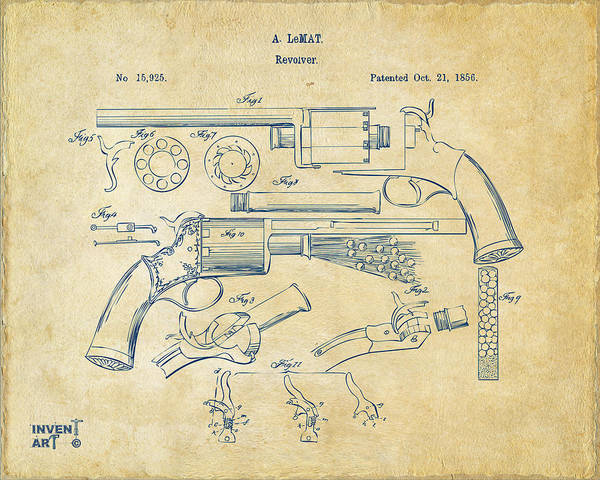 Digital Art - 1856 Lemat Revolver Patent Artwork Vintage by Nikki Marie Smith