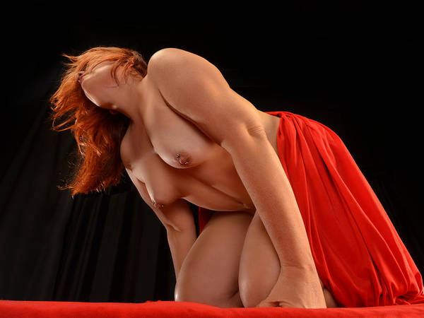 Photograph - 1857-lcw Large Woman Red Drape Powerful Perspective Pierced Nipples by Chris Maher
