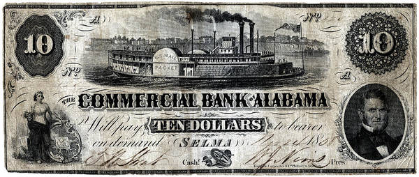 Riverboat Painting - 1858 Alabama Ten Dollar Note by Historic Image