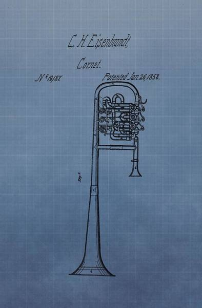 Vibrations Digital Art - 1858 Trumpet Patent by Dan Sproul