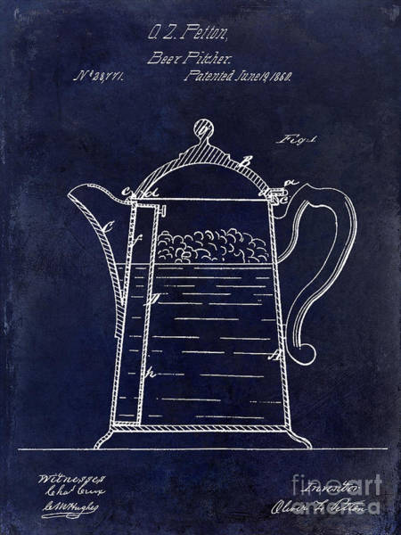 Brewing Wall Art - Photograph - 1860 Beer Pitcher Patent Drawing Blue by Jon Neidert