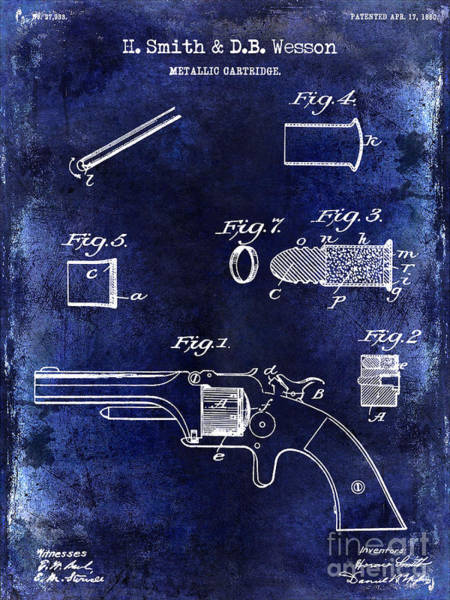 Wesson Photograph - 1860 Smith And Wesson Firearm Patent Drawing Blue by Jon Neidert