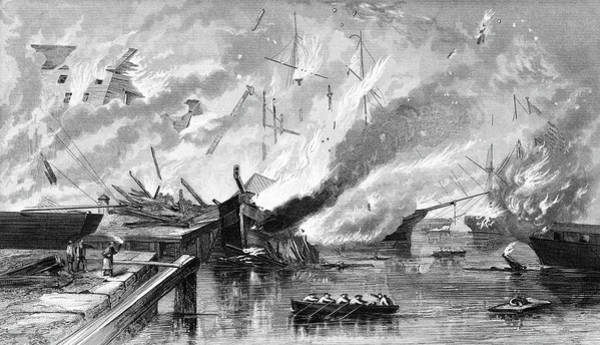 Norfolk Virginia Wall Art - Painting - 1860s 1862 Destruction Of Gosport Navy by Vintage Images