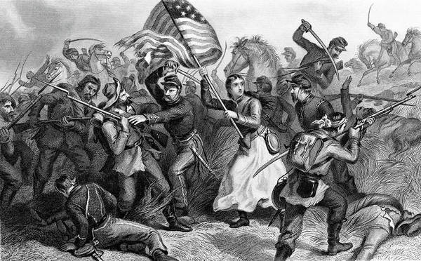 Excitement Painting - 1860s A Woman In Battle During Civil by Vintage Images