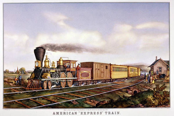 Currier And Ives Painting - 1860s American Express Train - Railroad by Vintage Images