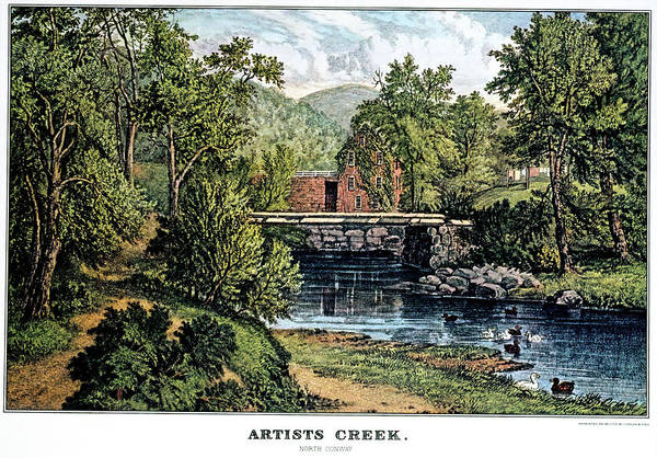 Currier And Ives Painting - 1860s Artists Creek - North Conway Nh by Vintage Images