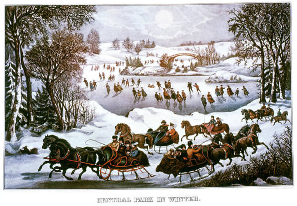 Excitement Painting - 1860s Central Park In Winter - New York by Vintage Images