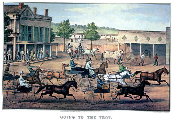 Currier And Ives Painting - 1860s Going To The Trot A Good Day & by Vintage Images