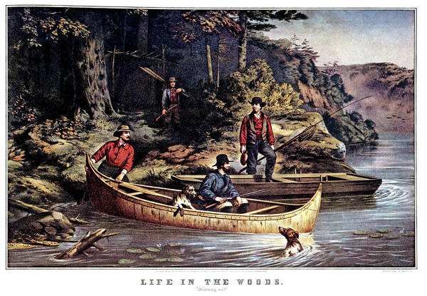 Currier And Ives Painting - 1860s Life In The Woods - Four Men Two by Vintage Images