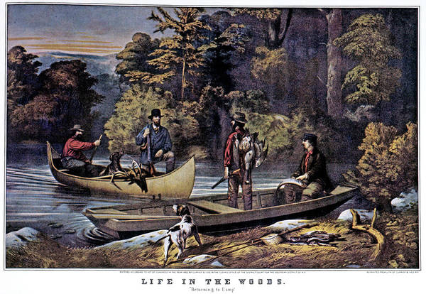 Currier And Ives Painting - 1860s Life In The Woods - Hunters by Vintage Images