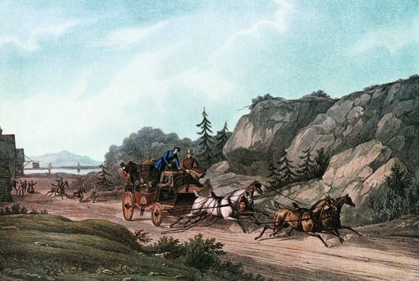 Accident Painting - 1860s Passengers Aboard A Runaway by Vintage Images