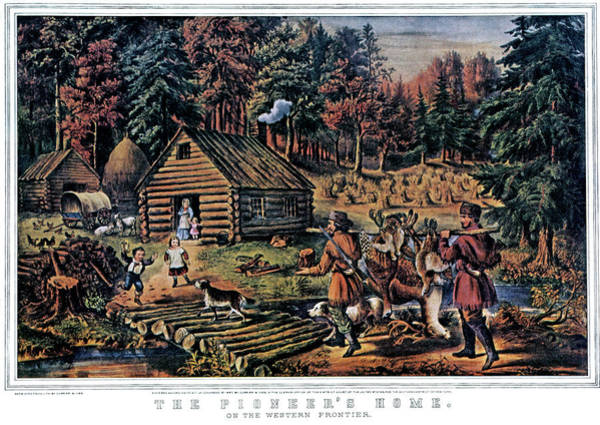 Currier And Ives Painting - 1860s The Pioneer Home On Western by Vintage Images