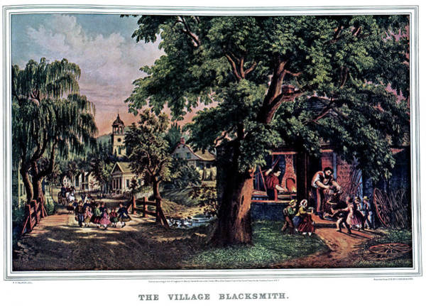 Currier And Ives Painting - 1860s The Village Blacksmith - Currier by Vintage Images