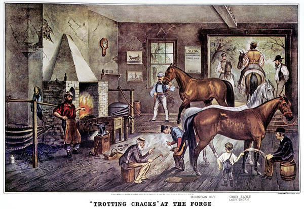 Horseshoes Painting - 1860s Trotting Cracks At The Forge - by Vintage Images