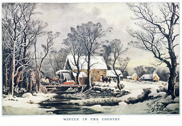 Currier And Ives Painting - 1860s Winter In The Country - The Old by Vintage Images