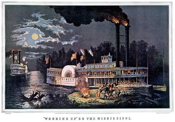 Up North Painting - 1860s Wooding Up On The Mississippi - by Vintage Images