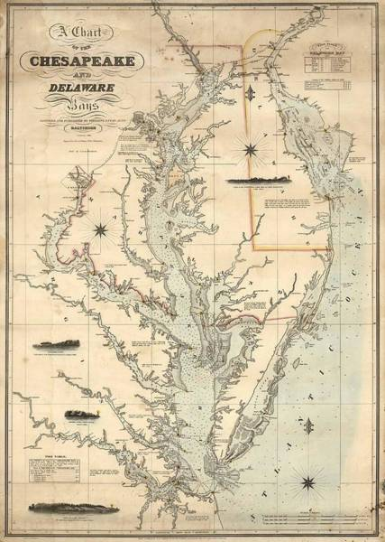 Wall Art - Mixed Media - 1862 Chesapeake Bay Map by Dan Sproul