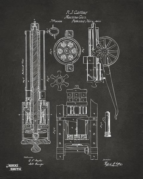 Wall Art - Digital Art - 1862 Gatling Gun Patent Artwork - Gray by Nikki Marie Smith