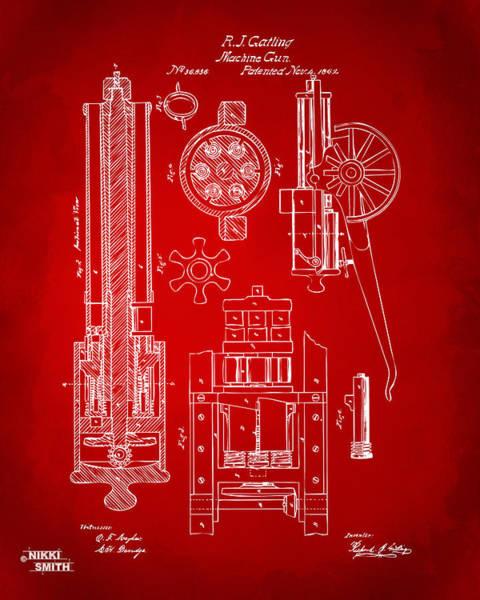 Wall Art - Digital Art - 1862 Gatling Gun Patent Artwork - Red by Nikki Marie Smith