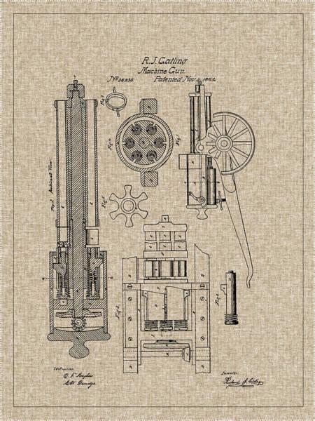 Photograph - 1862 Gatling Machine Gun Patent by Barry Jones