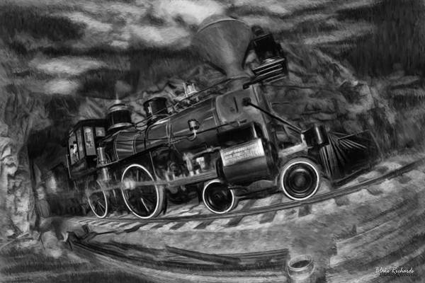 Photograph - 1862 Gov. Stanford First Locomotive Black And White by Blake Richards