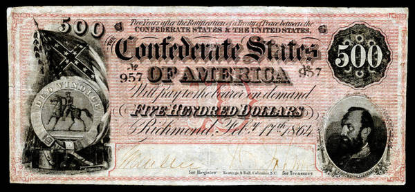 Stonewall Jackson Painting - 1864 Confederate Five Hundred Dollar Note by Historic Image