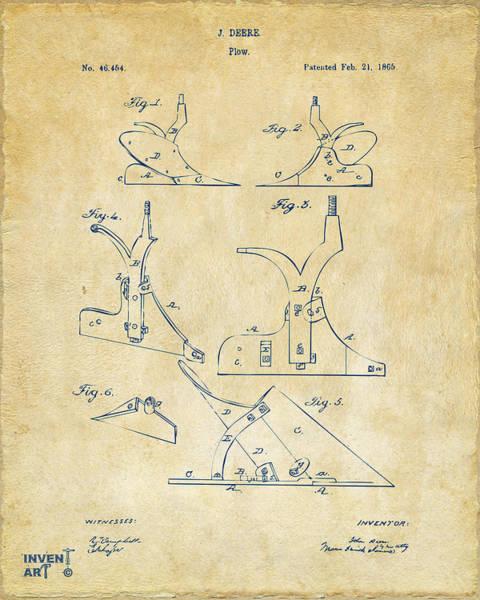 Farming Digital Art - 1865 John Deere Plow Patent Vintage by Nikki Marie Smith