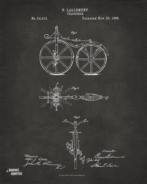 Wall Art - Digital Art - 1866 Velocipede Bicycle Patent Artwork - Gray by Nikki Marie Smith