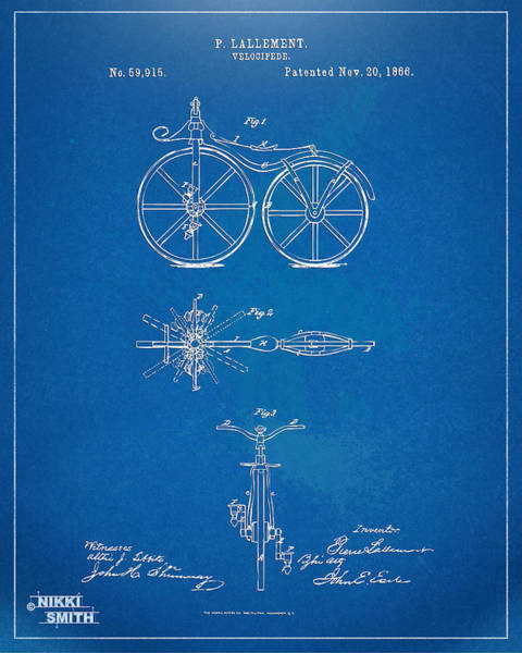 Wall Art - Digital Art - 1866 Velocipede Bicycle Patent Blueprint by Nikki Marie Smith