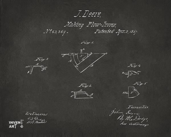 Farming Digital Art - 1867 John Deere Plow Irons Patent Gray H by Nikki Marie Smith