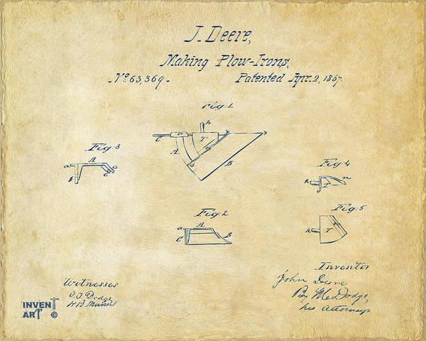 Digital Art - 1867 John Deere Plow Irons Patent Vintage H by Nikki Marie Smith