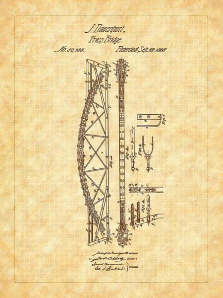 Digital Art - 1868 Davenport Truss Bridge Patent by Barry Jones