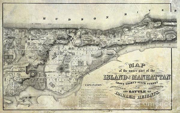 New York City Map Drawing - 1868 Map Of Manhattan by Jon Neidert
