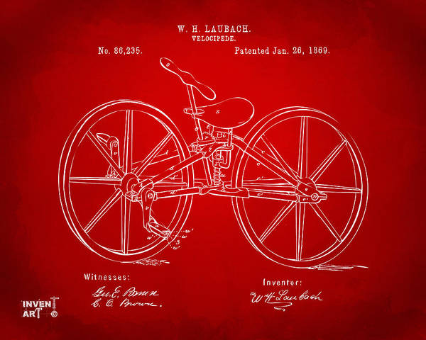Wall Art - Digital Art - 1869 Velocipede Bicycle Patent Artwork Red by Nikki Marie Smith